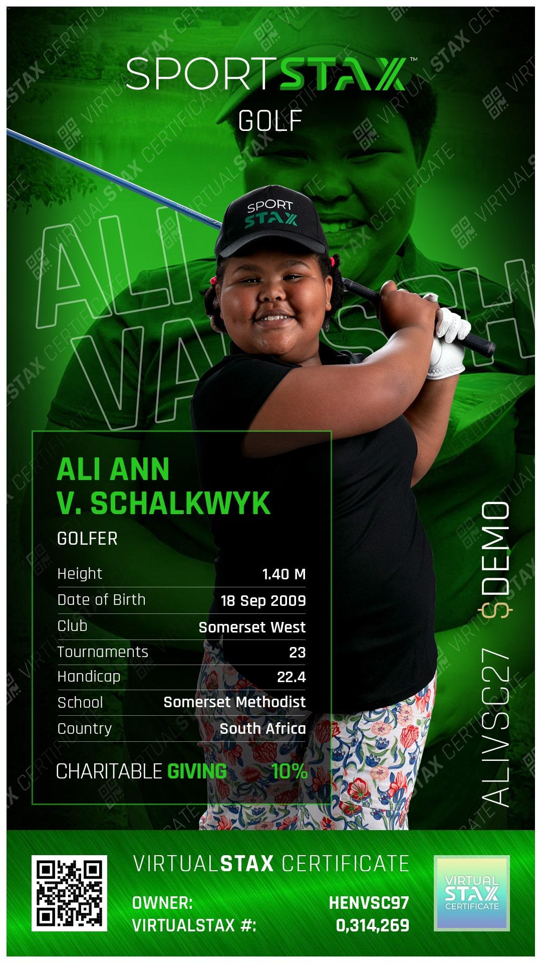 SX Trade Card Ali Ann van Schalkwyk