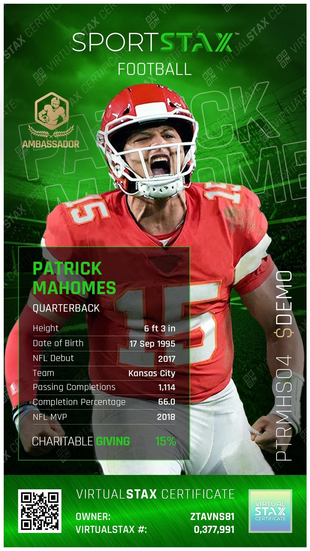 SX Trade Card Patrick Mahomes