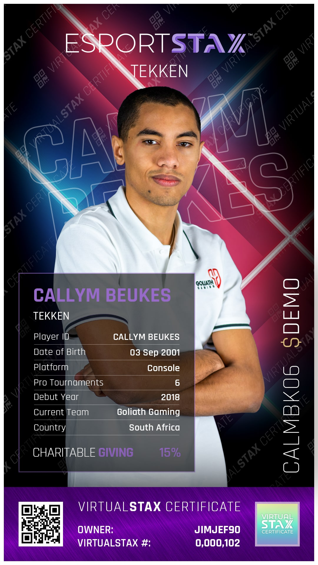 ESX Trade Card Callym Beukes