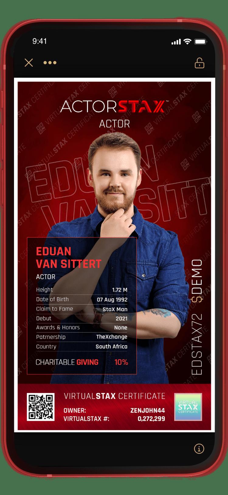 ActorStax App Eduan Van Sittert