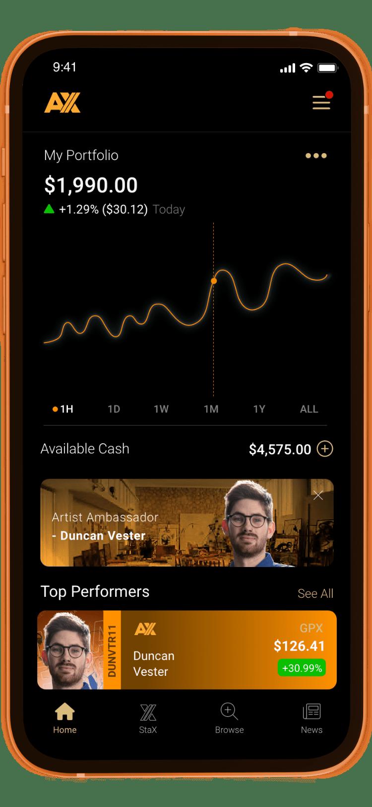 AX Trade Card App Duncan Vester