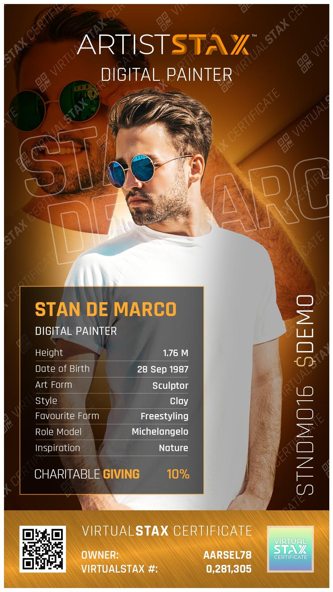 AX Trade Card Stan de Marco