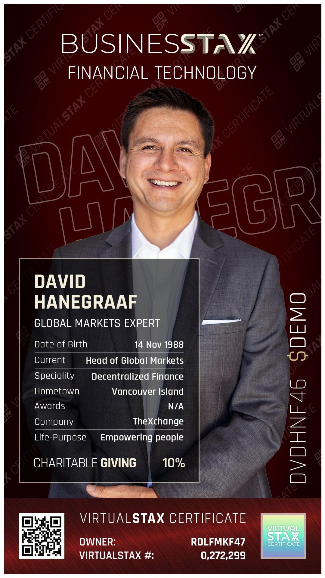 BX Trade Card David Hanegraaf