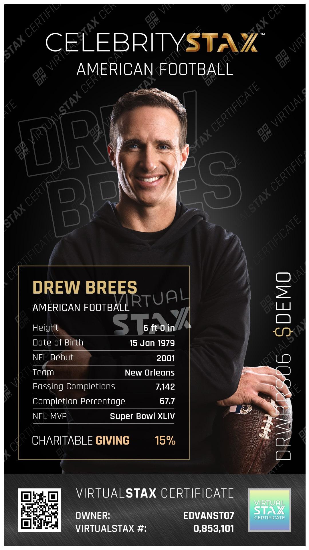CX Trade Card Drew Brees