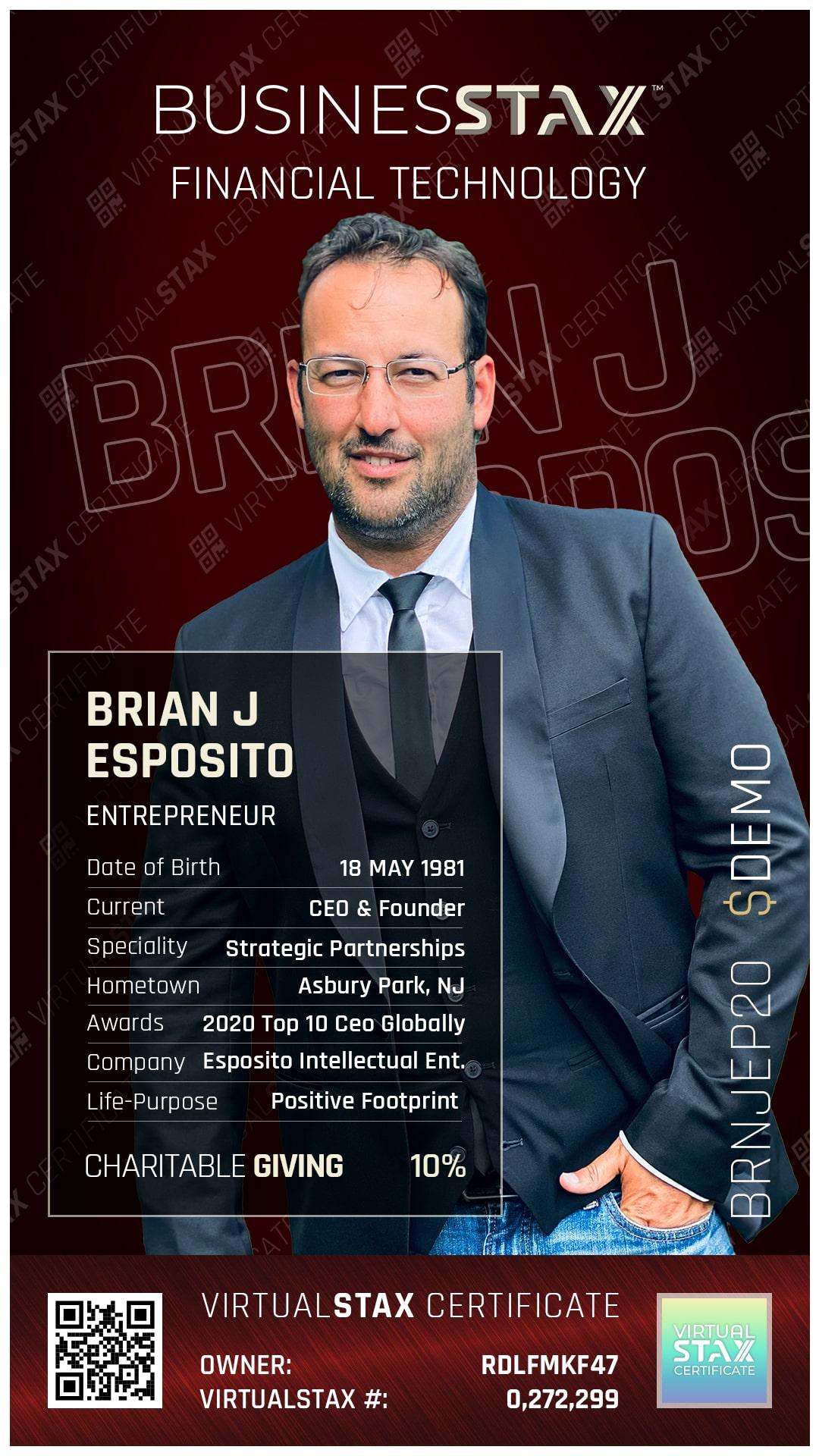 BX Trade Card Brian J Esposito