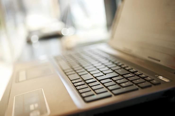 Laptop on desk at work
