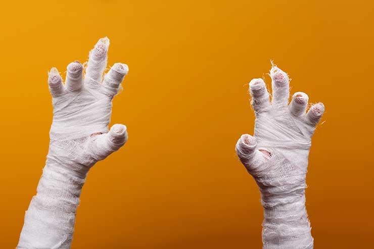 mummified hands