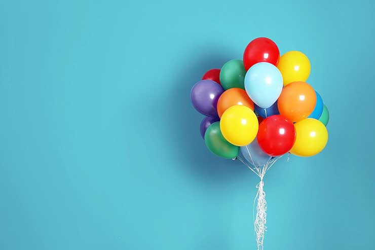 Bunch of bright balloons