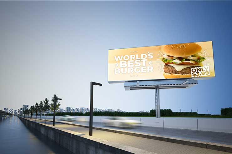 advertising billboard mockup on highway