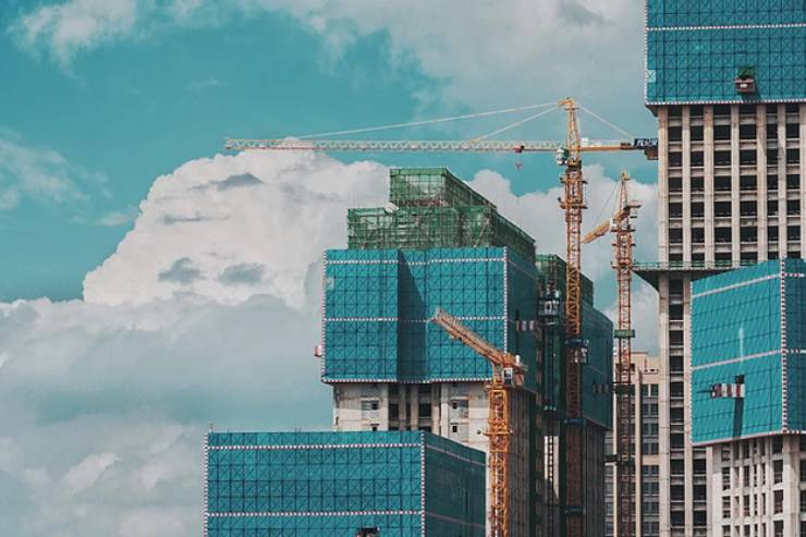 construction underway on city skyscrapers