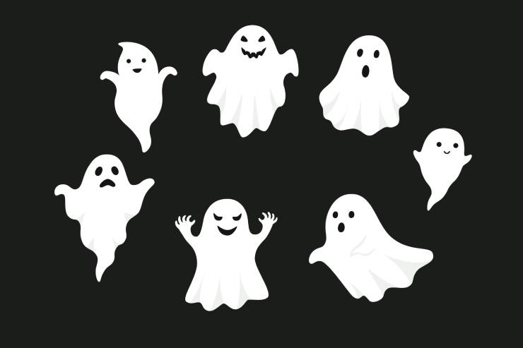 7 animated ghosts in a circle