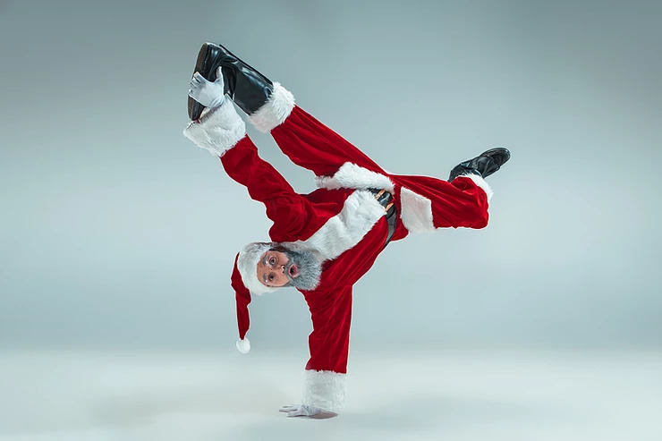 Santa doing a handstand