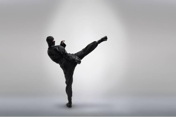 a ninja clad in black does a high kick