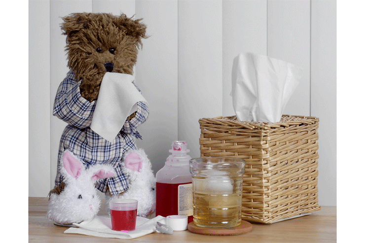 a teddy bear in a robe and slippers uses a kleenex