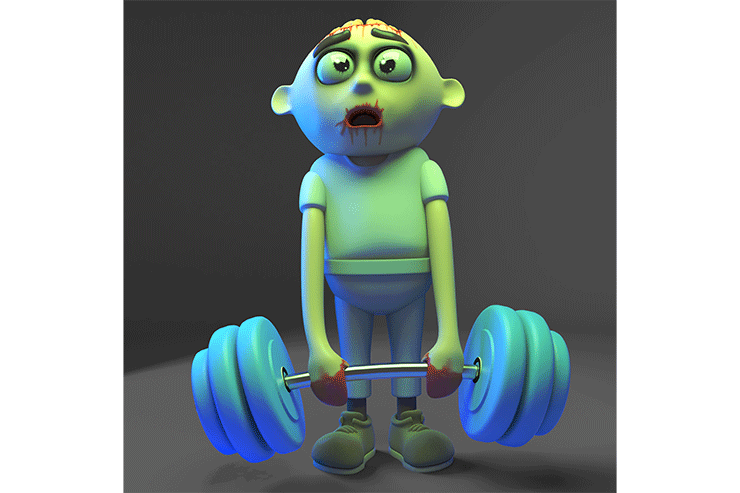 a cartoon zombie holds a barbell