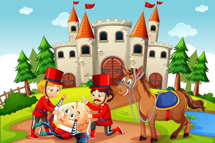 a cartoon illustration of Humpty Dumpty and the king's men