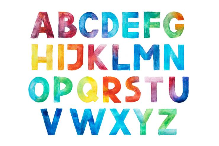a painted colorful version of the alphabet