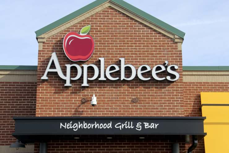 a close-up of the Applebee's logo on the restaurant
