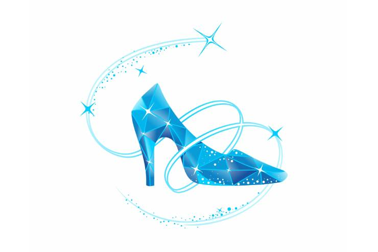 An Illustration of a Glass, High Heeled Slipper on a White Background.