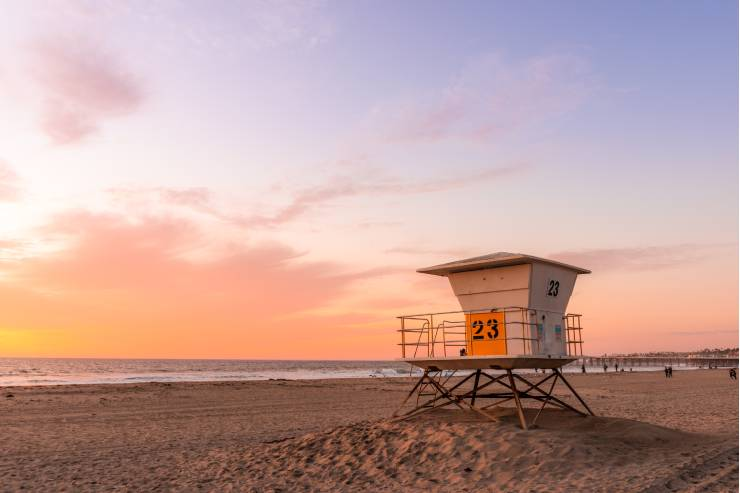 Lifeguard Tower Number 23 on the Beach at Sunset.