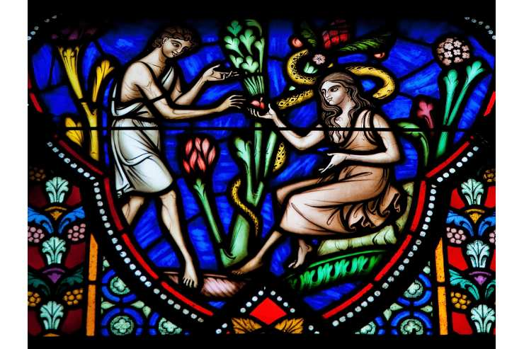 Colorful Stained Glass Window Image of Adam and Eve.
