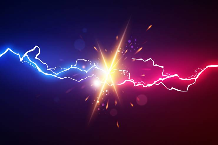 Illustration of two streams of electricity combining, one blue and one red.