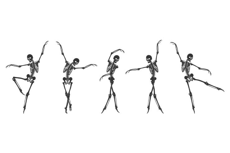an illustration of five black skeletons on a white background in various ballet poses