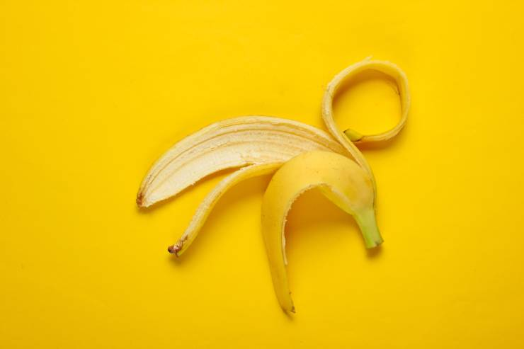 a banana peel on a yellow background