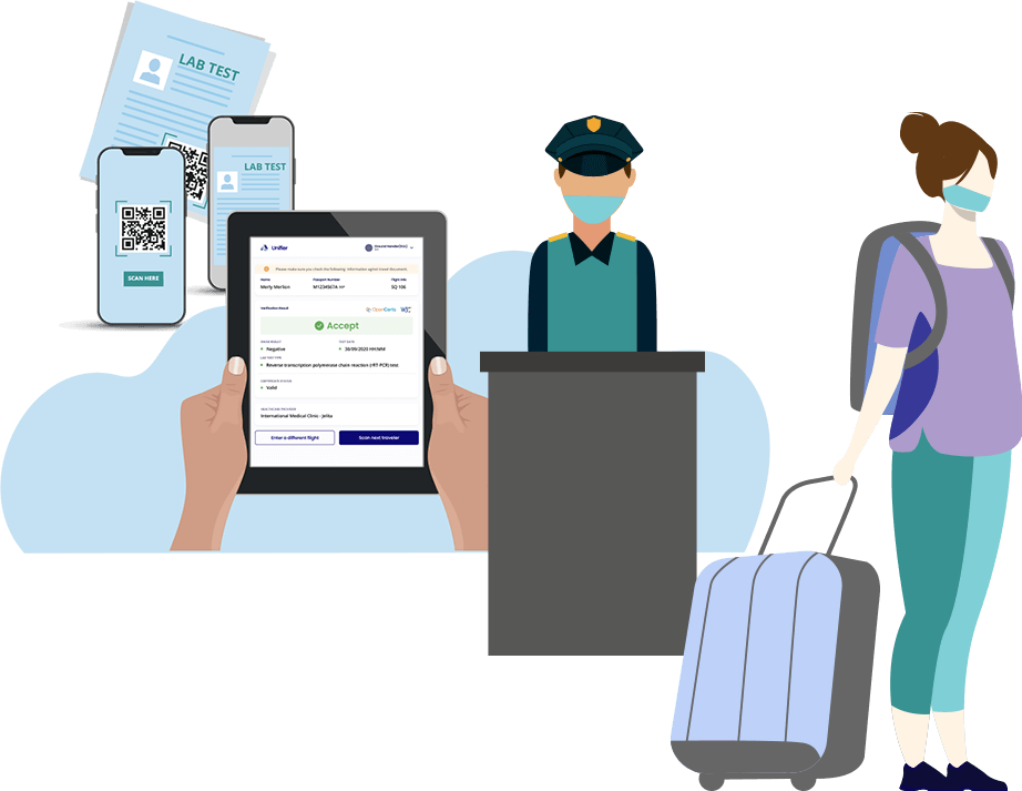 Travelers present various forms of VC PDT for Check-in and authentication at departure hall.