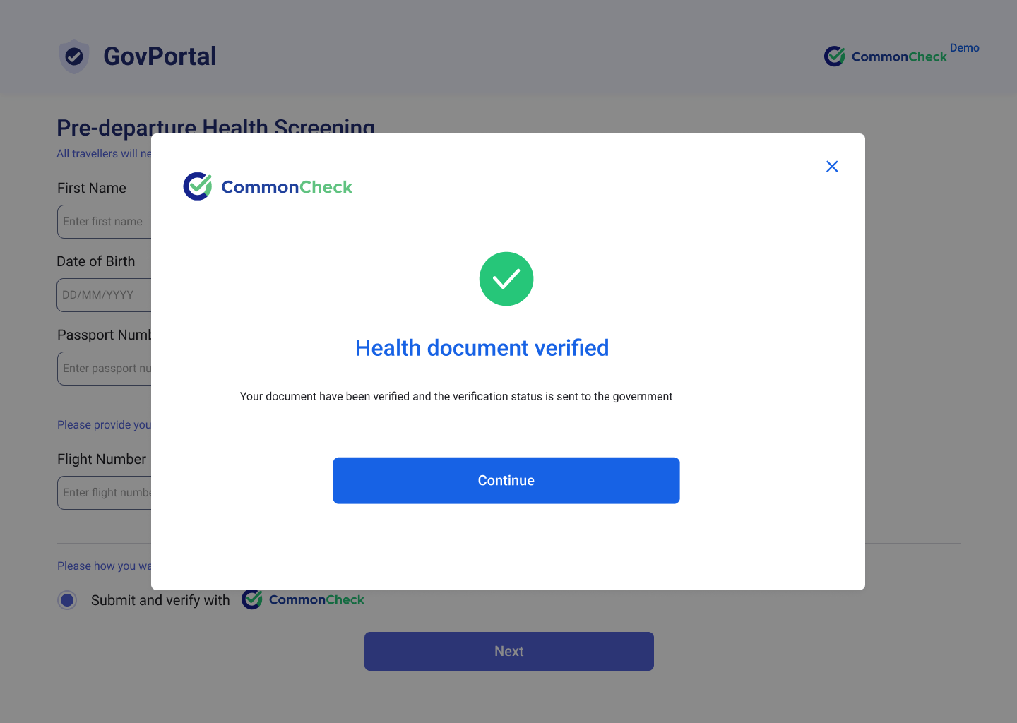 CommonCheck solution digitally reads and verifies validity of health credentials, and matches it against destination country's entry rules