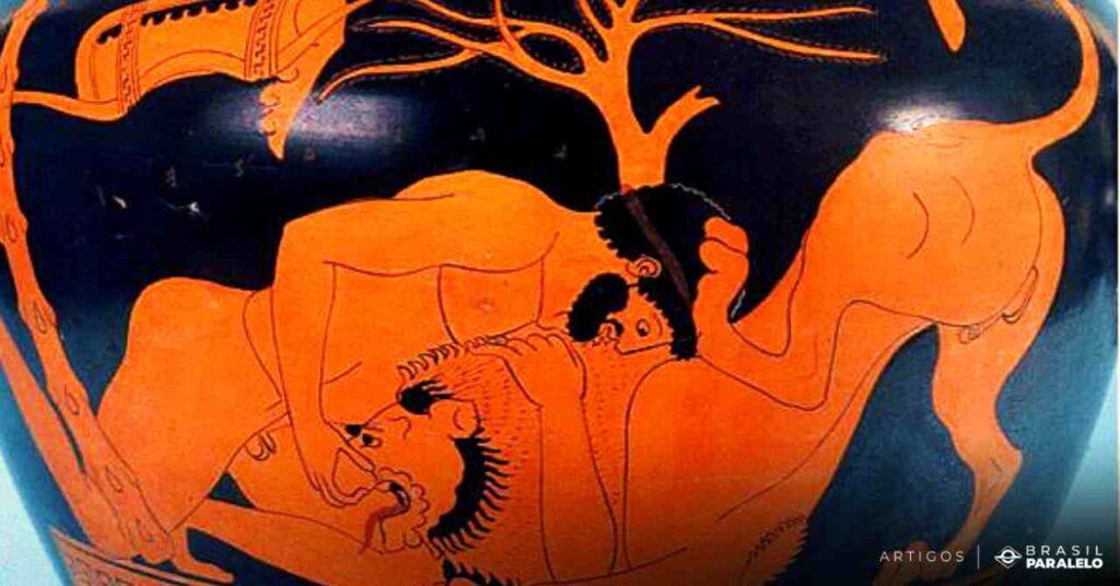 Hercules-vencendo-o-leao-em-arte-de-ceramica