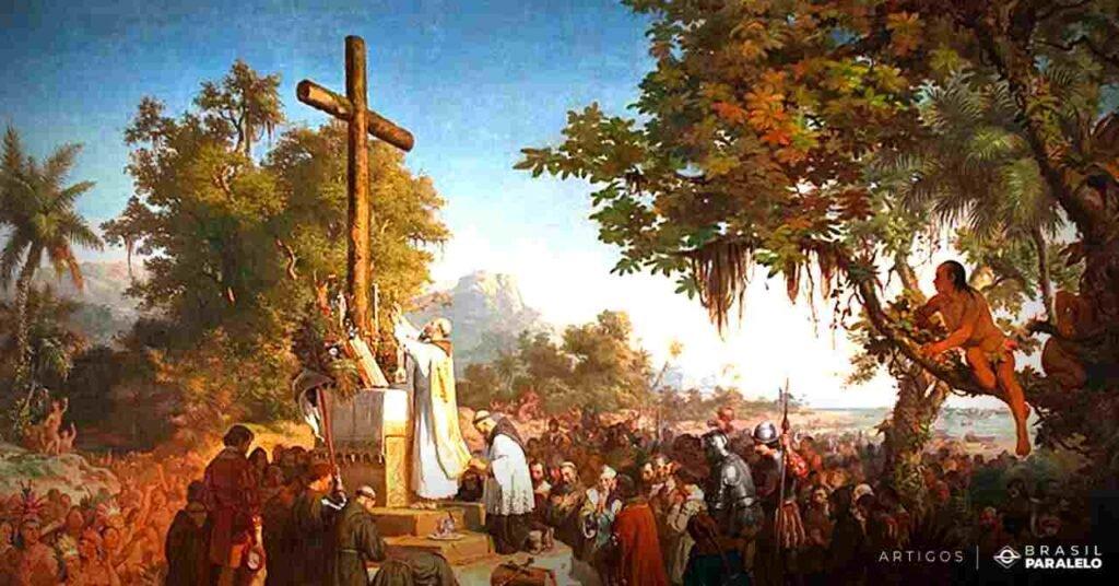 primeira-missa-celebrada-no-brasil-pelos-jesuitas-no-inicio-da-colonizacao-portuguesa