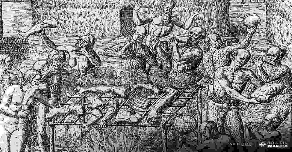 Ritual-de-antropofagia-dos-indios-no-Brasil-quando-os-portugueses-chegaram-e-canibalismo