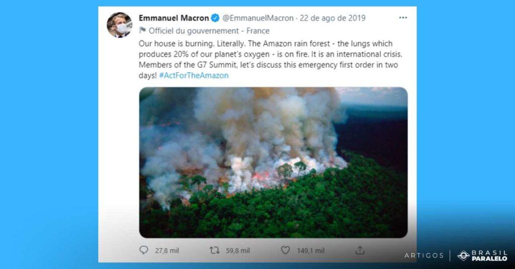 presidente frances emannuel macron diz que a amazonia esta pegando fogo