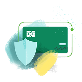 Illustration of a credit card with a shield