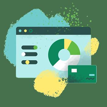 Computer banking interface illustration