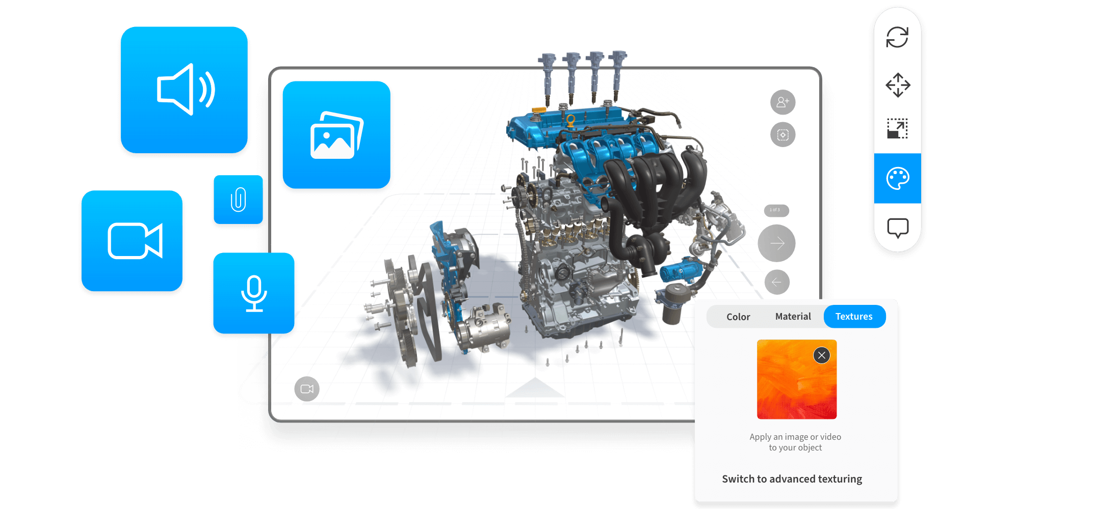 New: Add audio, video, and images to 3D presentations