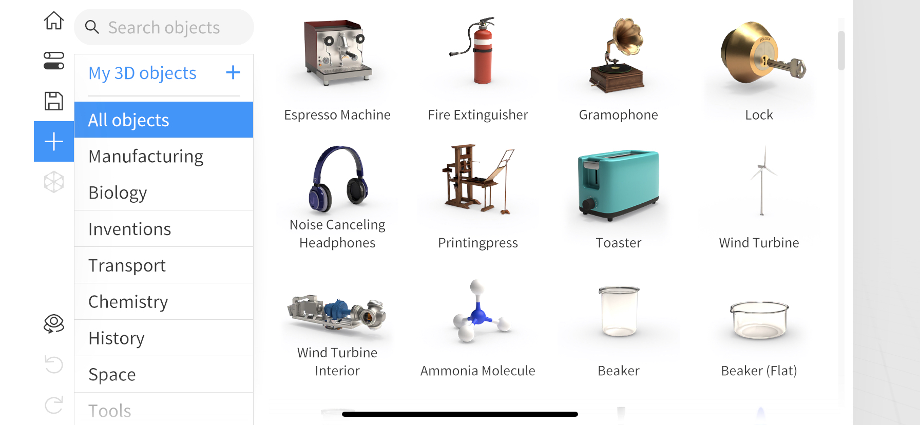Select objects from Jig Library in the app