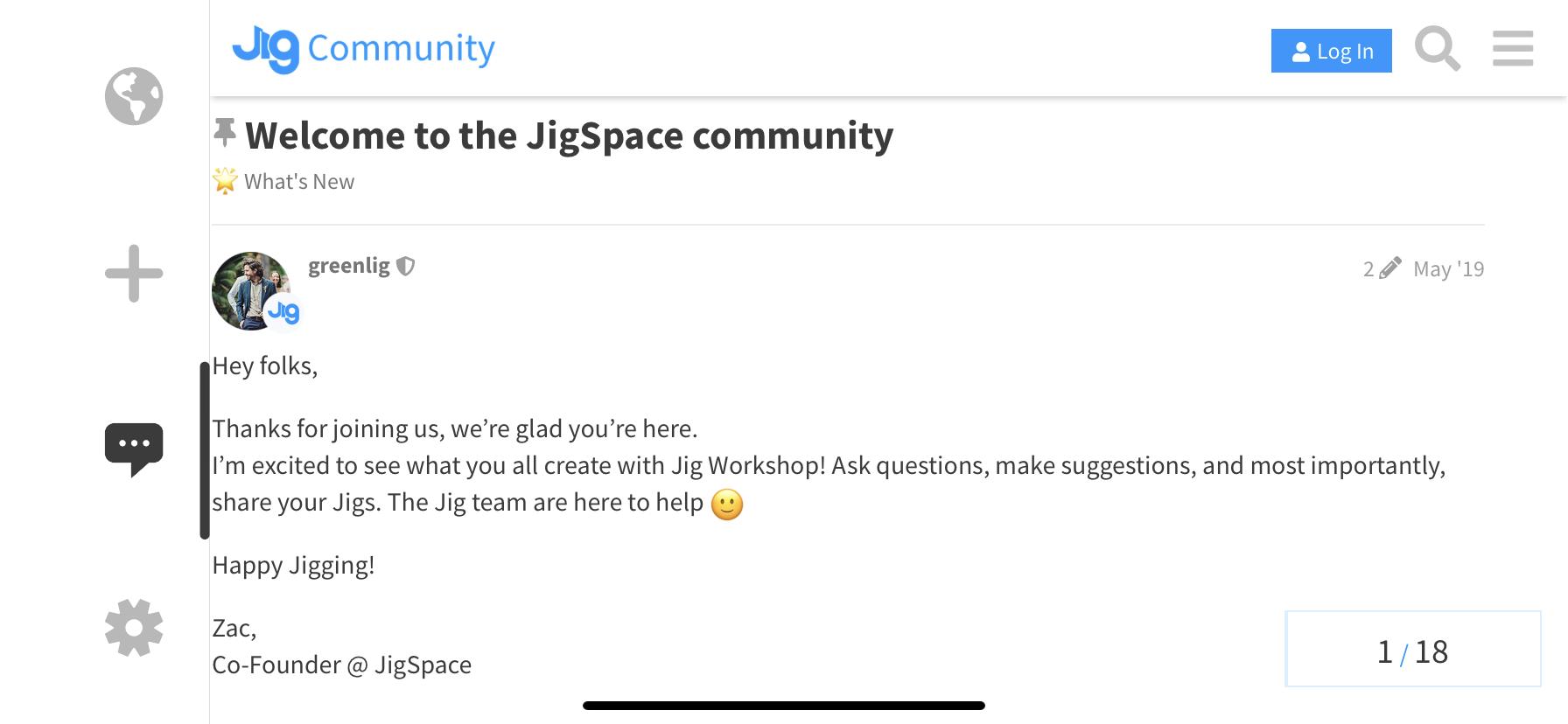 Zac's message in Jig Community