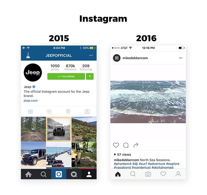 instagram 2015 vs 2016
