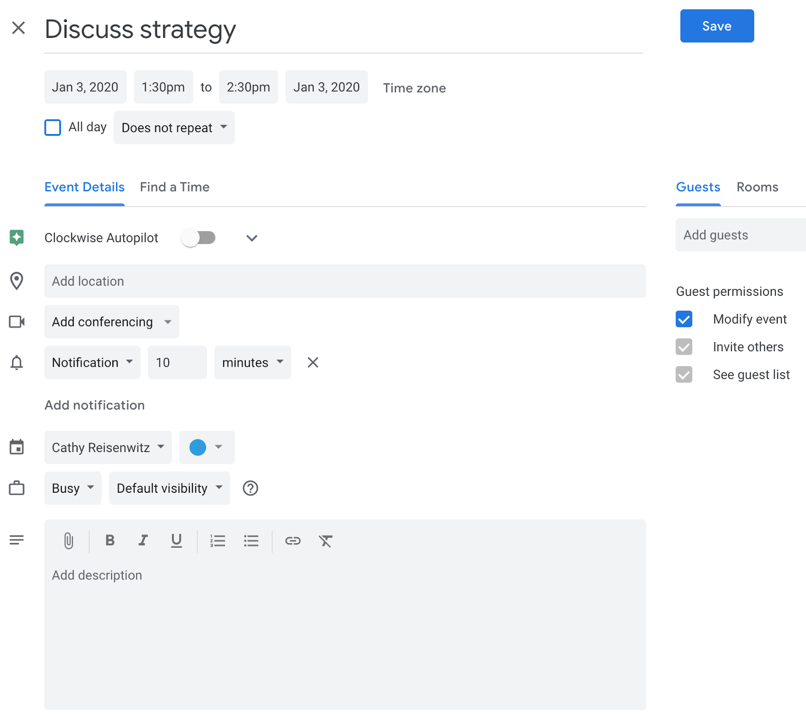 How to let attendees modify an event in Google Calendar