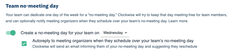 Team no meeting day in Clockwise settings