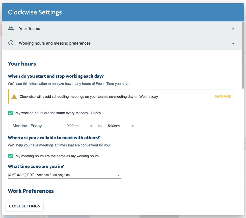 Clockwise working hours settings