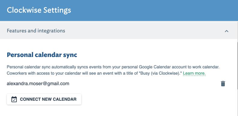 Personal calendar sync settings