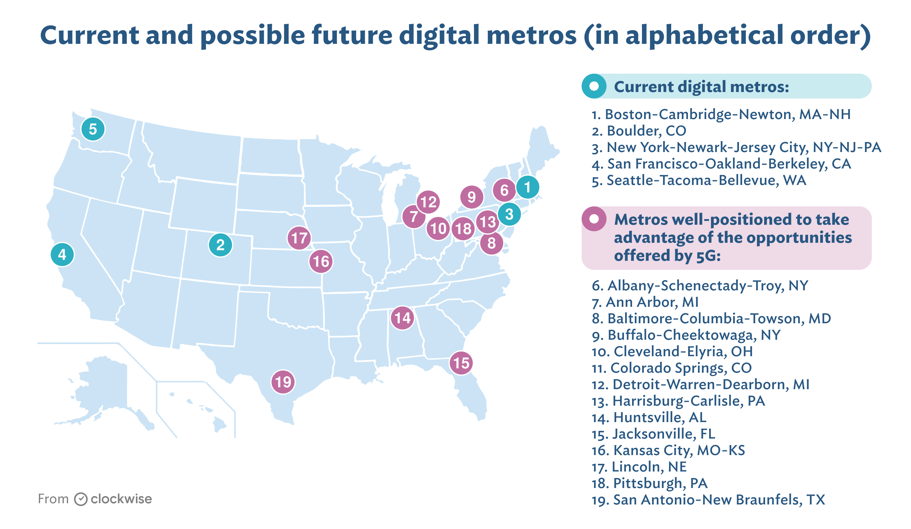 Map of where 5 G will impact employment