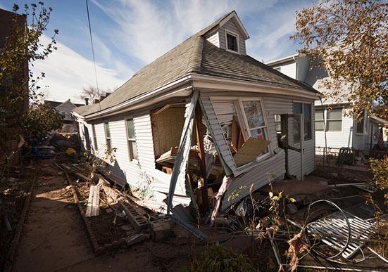A heavily damaged home
