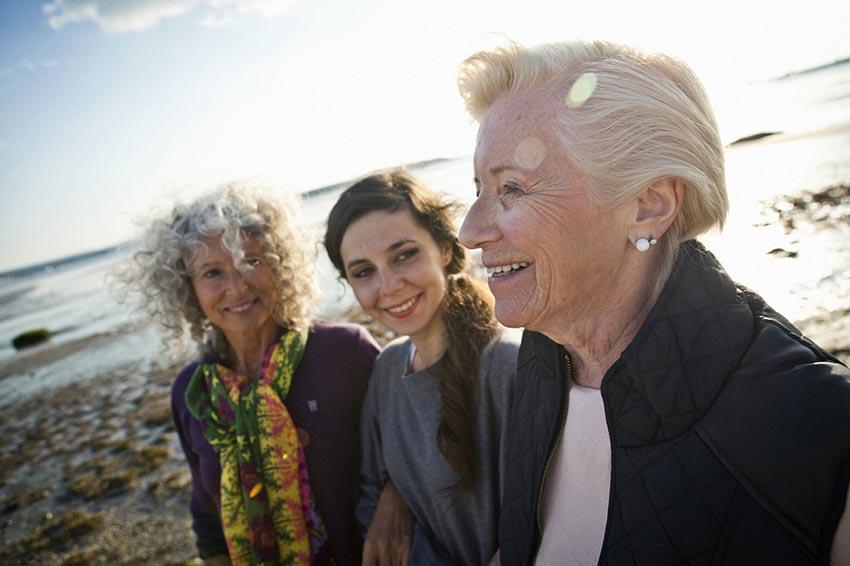Three women at a beach