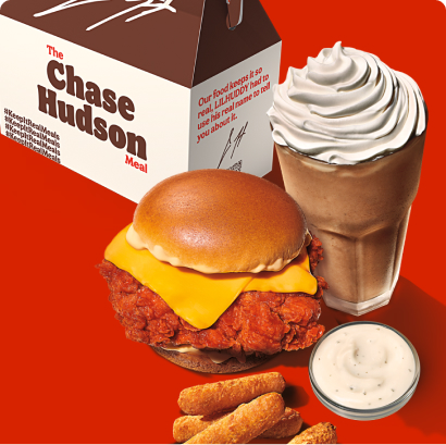 The Chase Hudson Meal. A Spicy Ch'King sandwich with mozarella sticks and a chocolate shake.