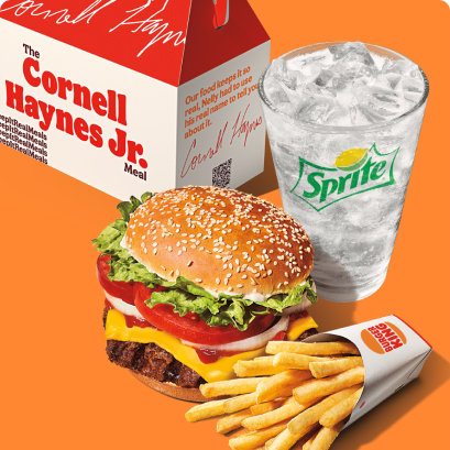 The Cornell Haynes Jr. Meal. A Whopper with cheese, fries, and a Sprite.