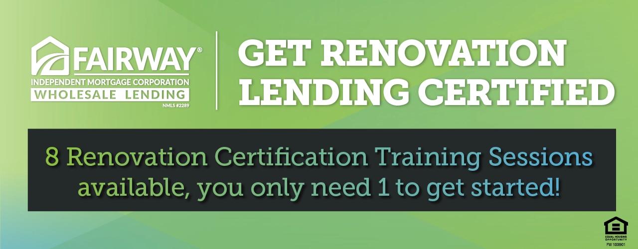 Get Renovation Lending Certified banner